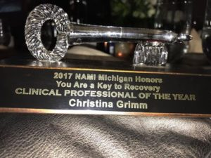 A close-up shot of Christina's award!